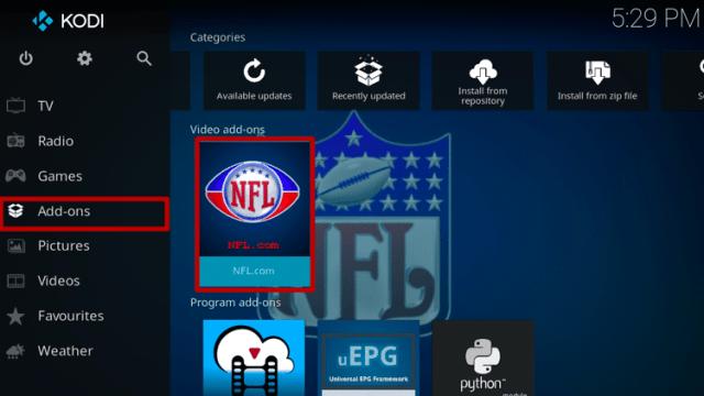 Install NFL.com Kodi Addon Step 9