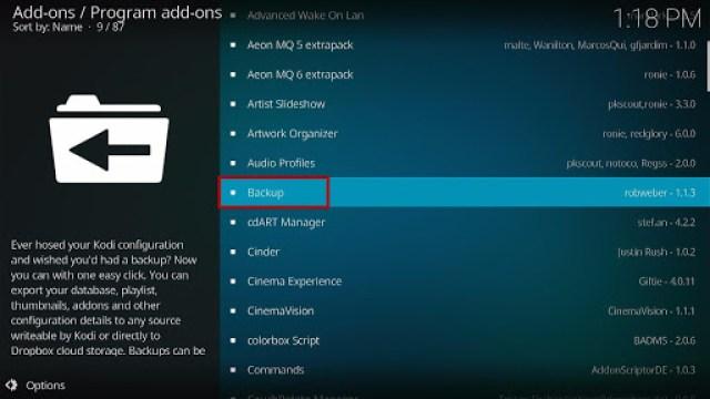 Install the Backup Kodi Addon Step 5