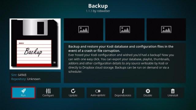 Install the Backup Kodi Addon Step 9