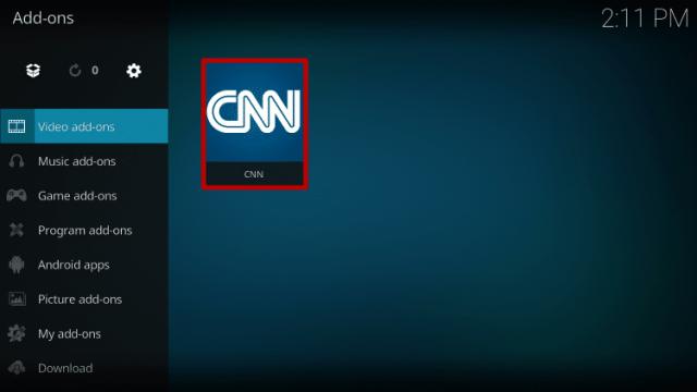 Install the CNN Kodi Addon Step 10
