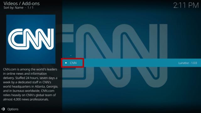 Install the CNN Kodi Addon Step 11
