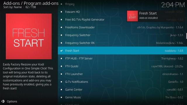 Install the Fresh Start Kodi Addon Step 3
