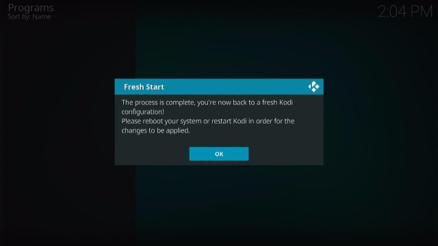 Install the Fresh Start Kodi Addon Step 7
