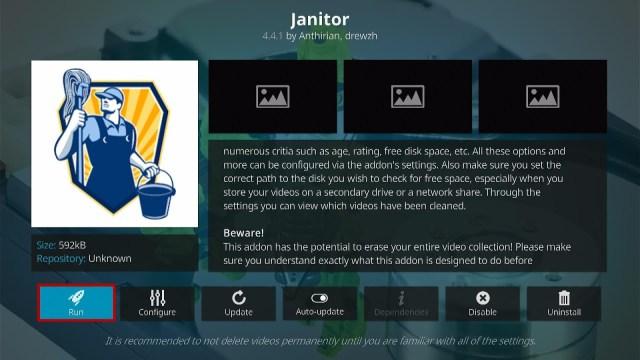 Install the Janitor Kodi Addon Step 9