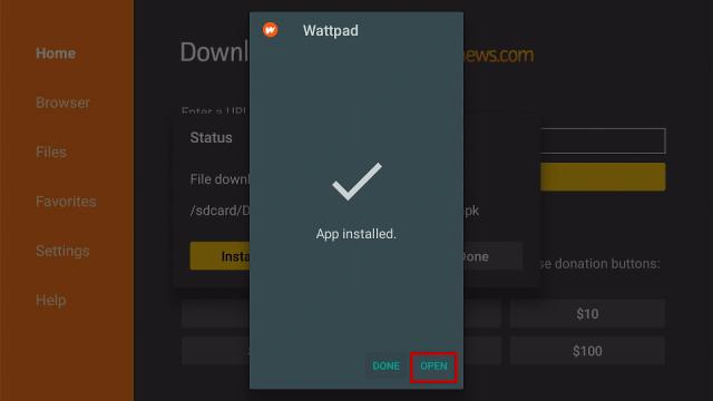 Step 18 Install Wattpad Premium MOD on Firestick