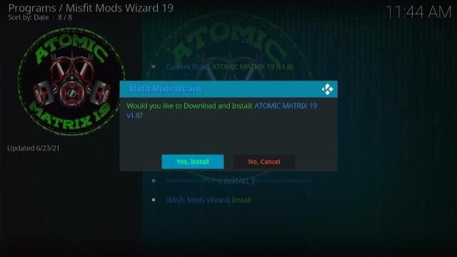 Install Atomic Matrix Kodi Build 25