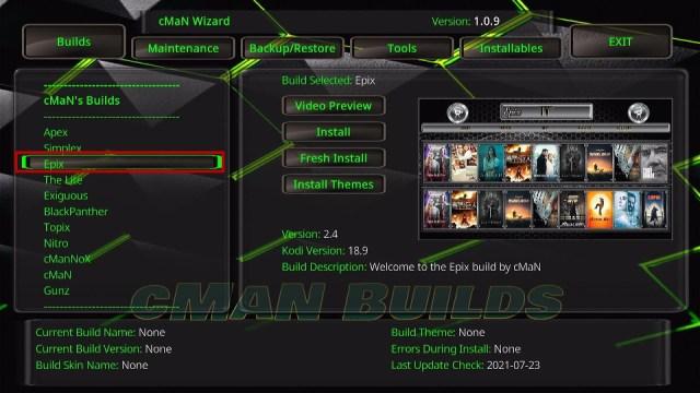 Install Epix Kodi Build 23