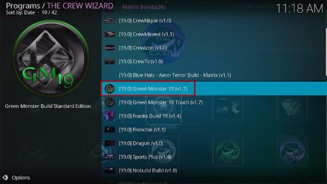 Install Green Monster 19 Kodi Build 27