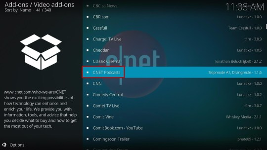 Install CNET Podcasts Kodi Addon 5
