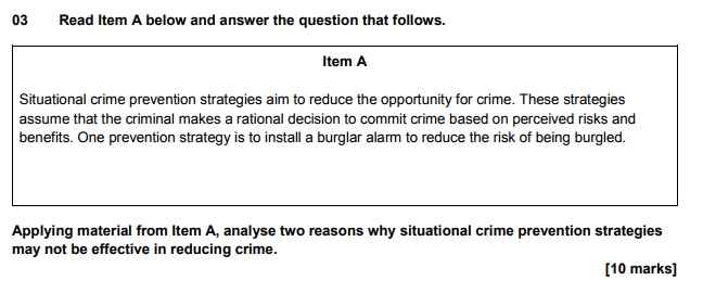 Applying material from Item A, analyse two reasons why situational crime prevention strategies may not be effective in reducing crime (10)