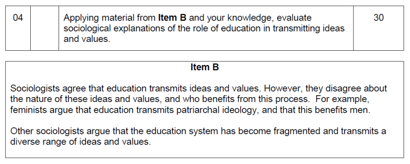 A-level-sociology-30-mark-question-item