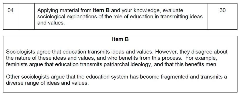 A-level-sociology-30-mark-question-item