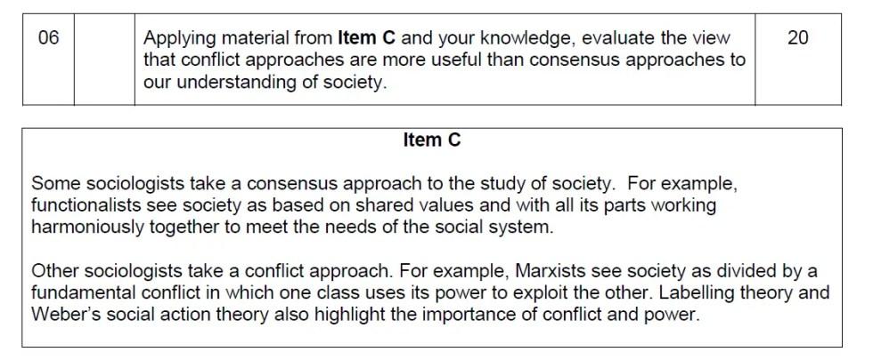 AQA Sociology 20 mark essay mark Scheme