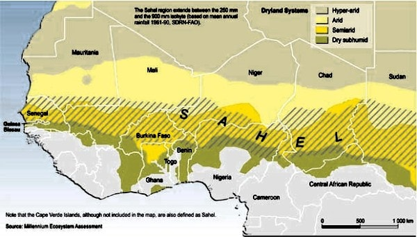 A map of the Sahel region. Image credit tamu.edu