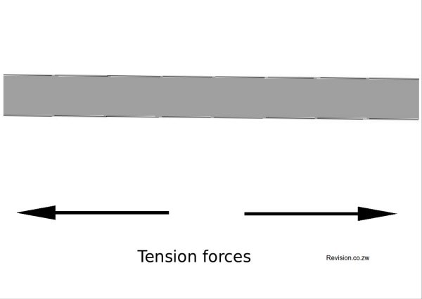 Tension forces pulling away from each other.