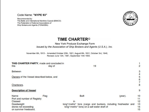 A time charter. Image credit lawandsea.net
