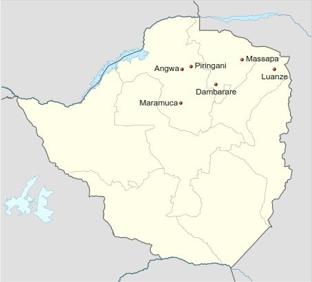 A map showing early Portoguese settlements in Zimbabwe