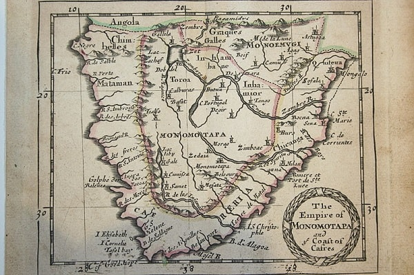 A map of the Mutapa Kingdom/ Stae made by the Early Portoguese. Image credit MediaWiki