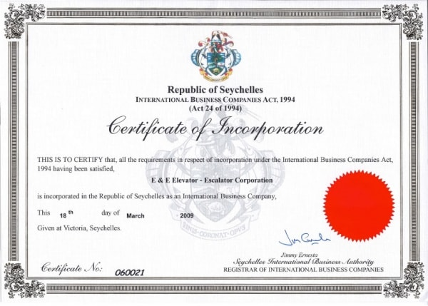 Certificate of incorporation. Image credit elavator-and-escalator.com