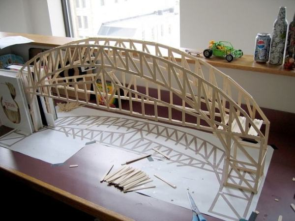 A bridge made of ice cream sticks. Image credit pinterest.com
