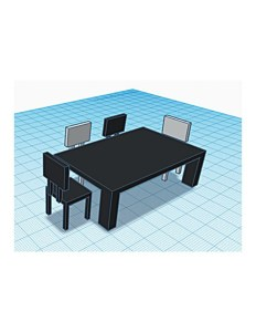 3d image of a black table and 4 chairs made by a cad program