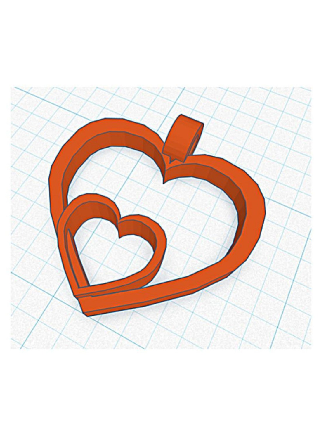 two red hearts that overlap on a cad drawing in 3d