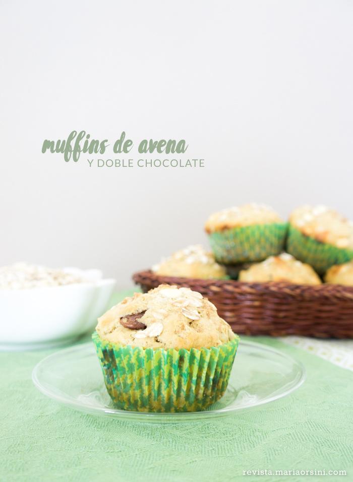 receta de muffins de avena y doble chocolate