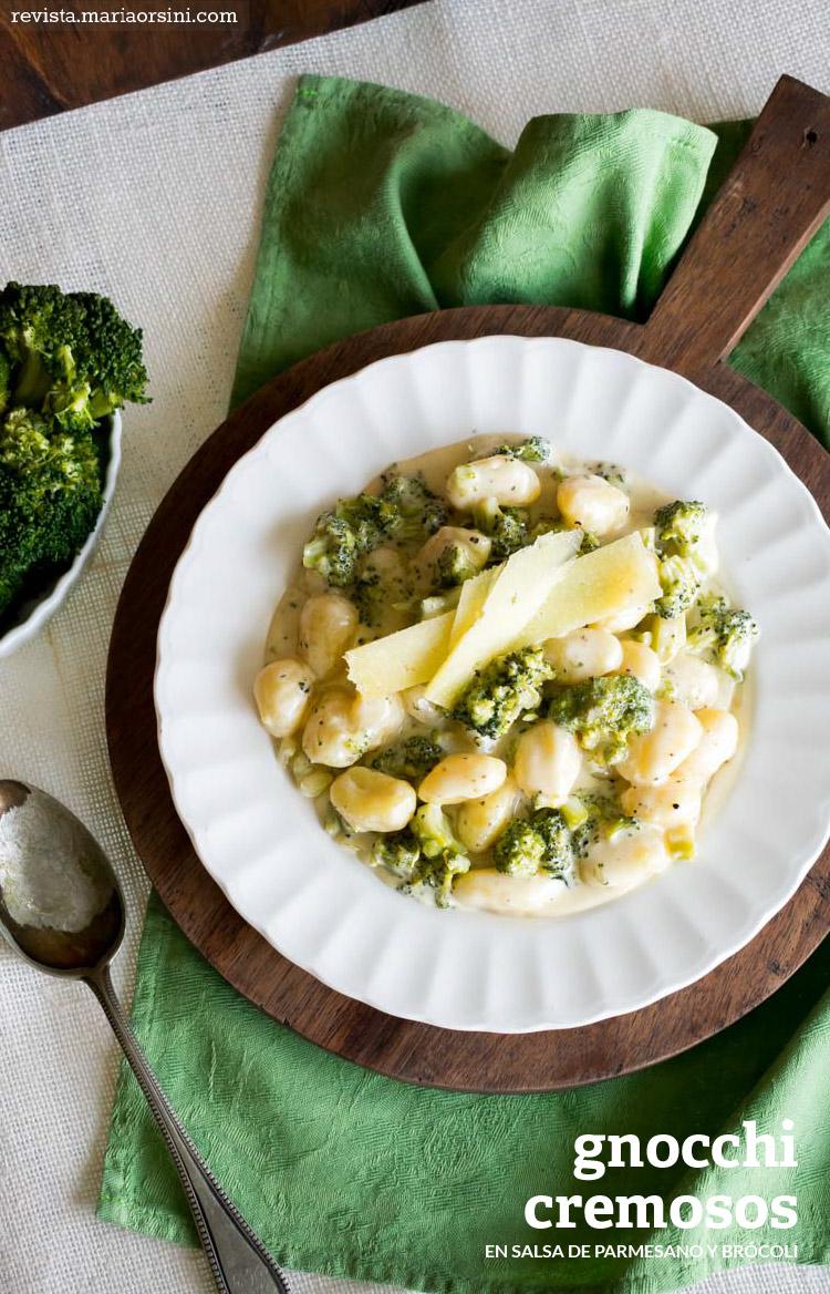 Gnocchis cremosos con parmesano y brócoli. Receta en Revista Maria Orsini