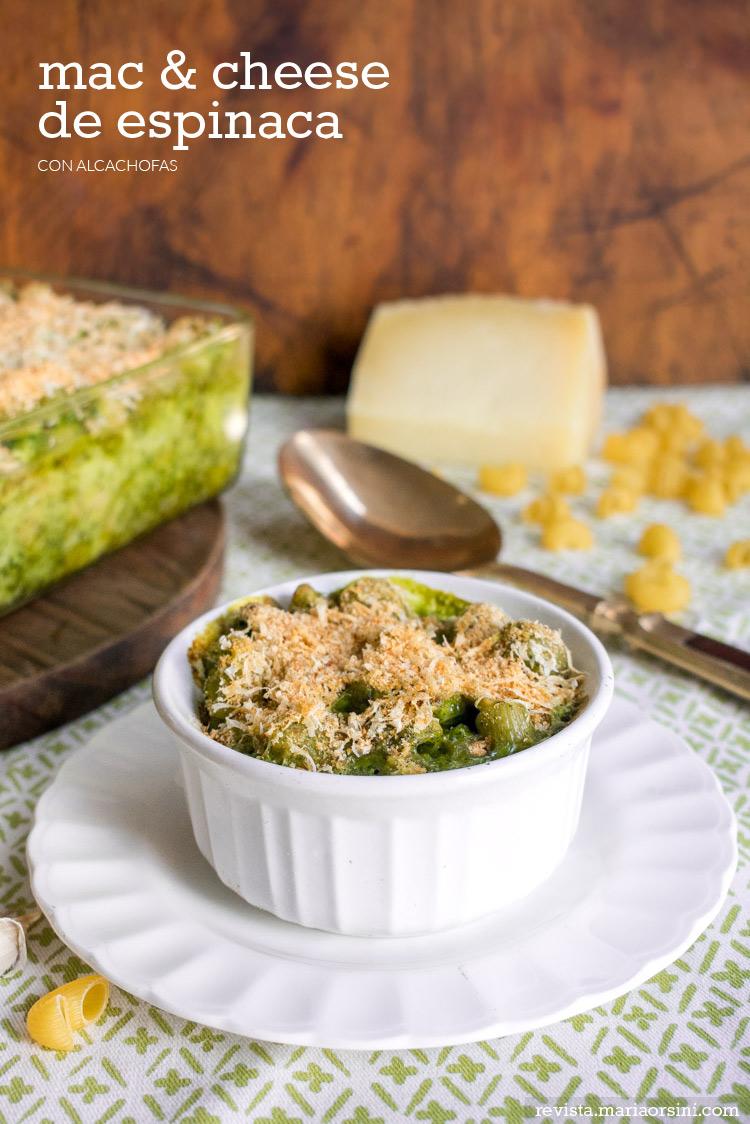 Mac & Cheese de espinaca y alcachofa, receta de Maria Orsini