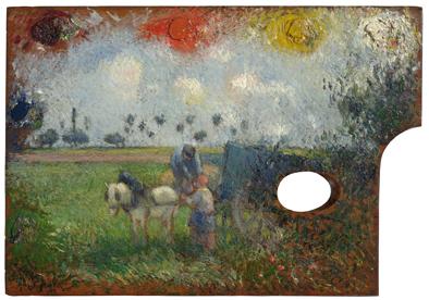 La paleta del artista con paisaje, c.1876. Óleo sobre tabla, 24,1 x 34,6 cm. Sterling and Francine Clark Art Institute, Williamstown, Massachusetts.