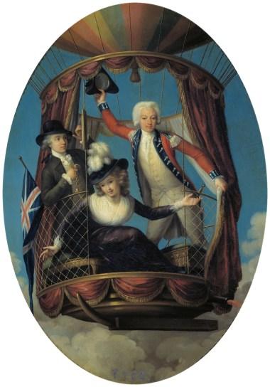 Los tres viajeros aéreos favoritos, hacia 1785. John-Francis Rigaud. Óleo sobre lámina de cobre 36 x 31 cm.