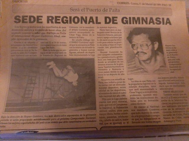 Recorte periodístico que daba cuenta de la competencia en Paita.