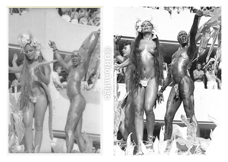 """Paulo Cezar Grande de destaque como Adão, Márcia Porte destaque como Eva e Jorge Lafond como a serpente- Madame Satã. Enredo """"A Lapa de Adão e Eva"""", Beija-flor 1985."""