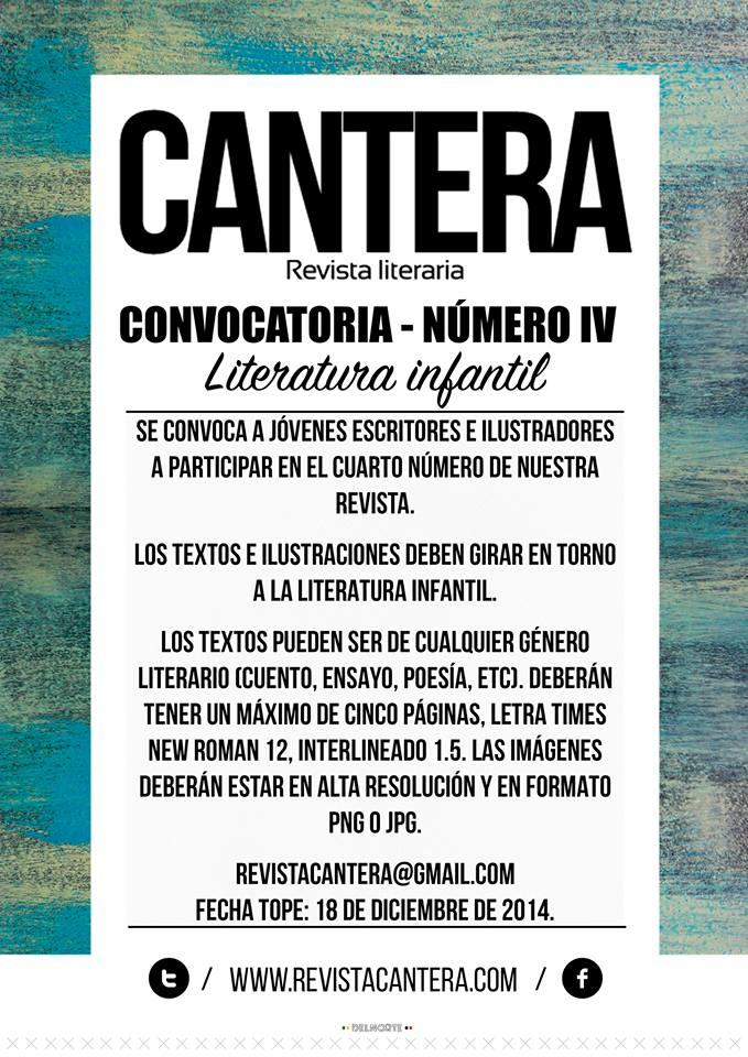 Convocatoria Cuarto Numero Revista Cantera