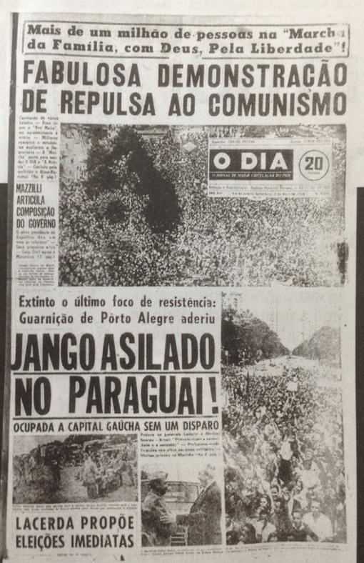 """Jornal O Dia, 3 de abril de 1964: """"Fabulosa demonstração de repulsa ao comunismo''."""