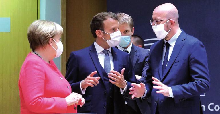 Merkel y Emmanuel Macron