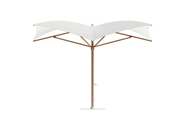 TUUCI: O ombrelone Manta Max utiliza como referência as profundezas do mar. Com estrutura em alumínio e tecido náutico, fazendo jus à inspiração, tem dimensões de 3 x 3 m ou 4,25 x 4,25 m. Além de proteger do sol, o modelo agrega personalidade. Disponível na Casual Móveis
