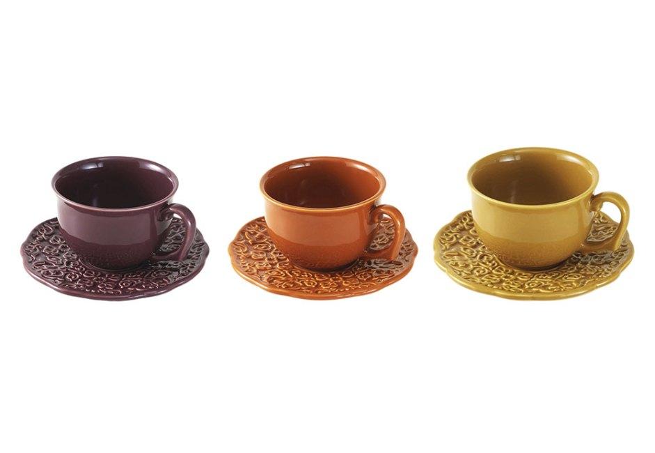 ACERVO PANELINHA: Compondo a linha Especiarias, da marca de Rita Lobo, o conjunto de xícaras de chá e de pires é feito em cerâmica esmaltada e se apresenta em três cores: curry, canela e sumac. À venda na Tok&Stok