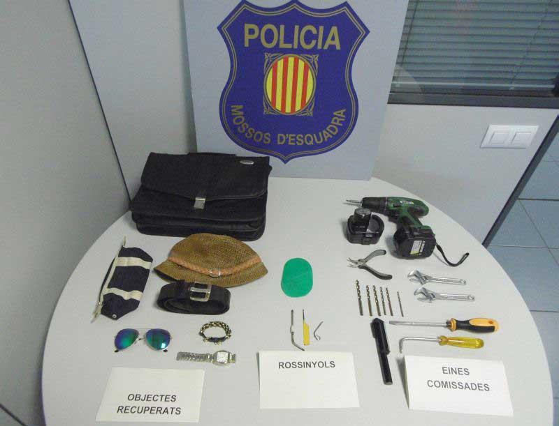 Objetos encontrados en poder del ladrón