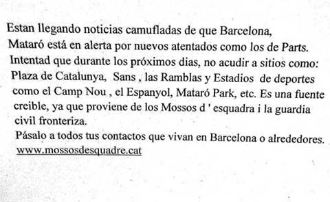 El falso mensaje de los Mossos que advierte de alerta terrorista en Mataró