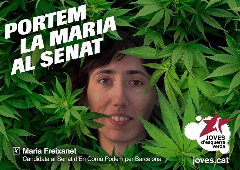 Un cartel electoral de la nueva senadora, Maria Freixanet