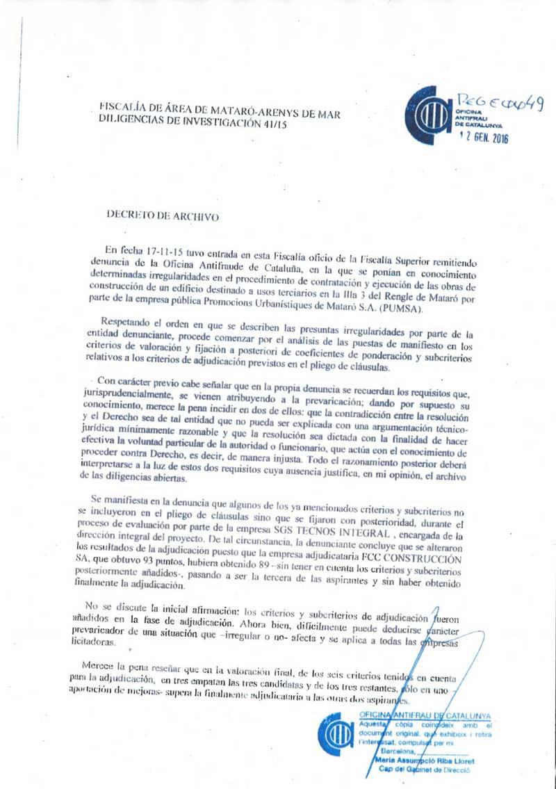 Parte del documento de archivo del caso