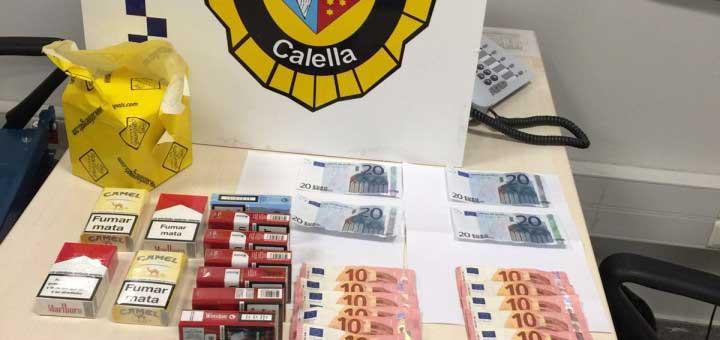 A los estafadores se les intervino dinero legal y falsificado. Foto: Policía Local de Calella