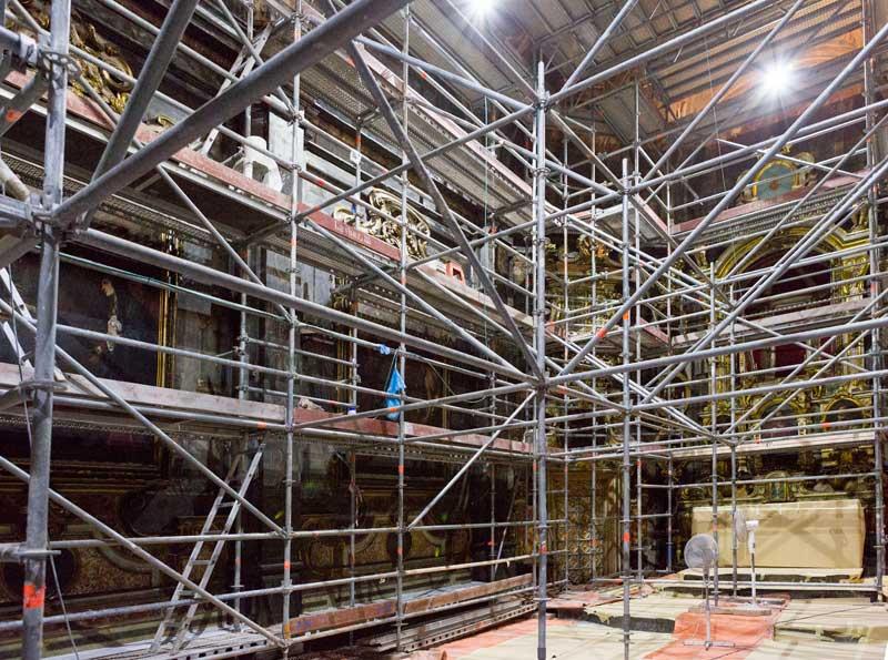 Vista actual de las obras en la capilla. Foto: Ramon Maroto