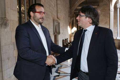 Este lunes tuvo lugar el encuentro entre Carles Puigdemont y el alcalde David Bote. Foto: J. Bedmar/Ajt. de Mataró