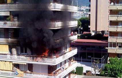 Momento del incendio. Foto: Ajt. de Vilassar de Mar