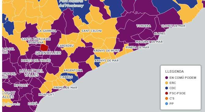 La comarca se tiñó de amarillo y morado en esta infografía de TV3