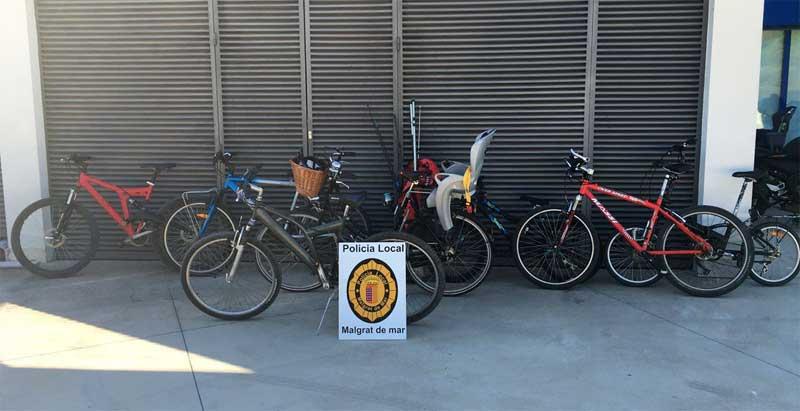 Las bicis recuperadas por la policía local. Foto: Policia Local de Malgrat