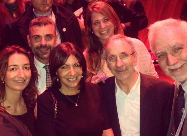 El alcalde Mayoral junto a la alcaldesa de Paris, Anne Hidalgo y el conseller Santi vila