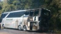 Ônibus Rodoviário pega fogo na PR-483 no interior do Paraná
